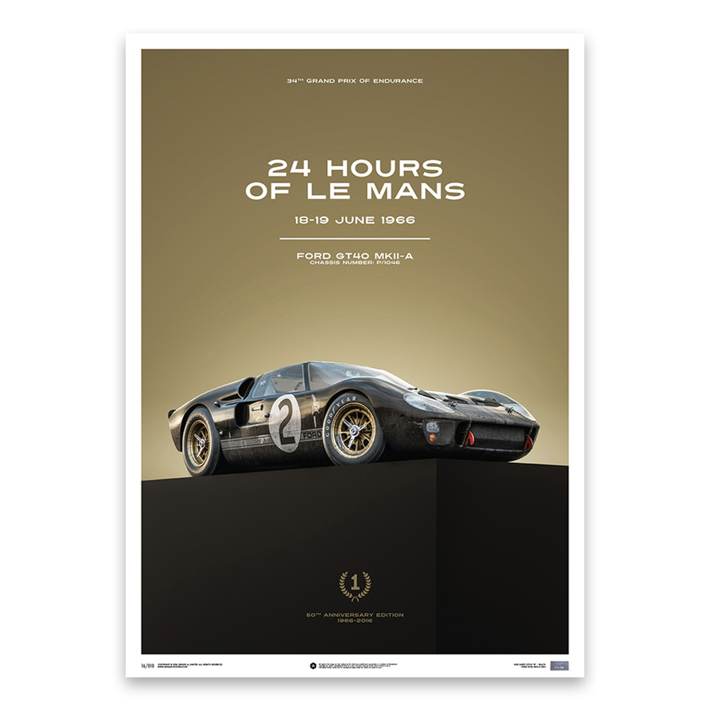 Product image for Ford GT40 Black 24h Le Mans 1966: Limited Poster