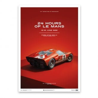 Product image for Ford GT40 Dan Gurney Red 24h Le Mans 1966: Limited Poster