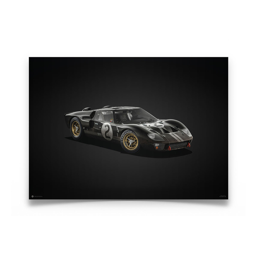 Product image for Ford GT40 Black 24h Le Mans 1966 Colors of Speed Poster