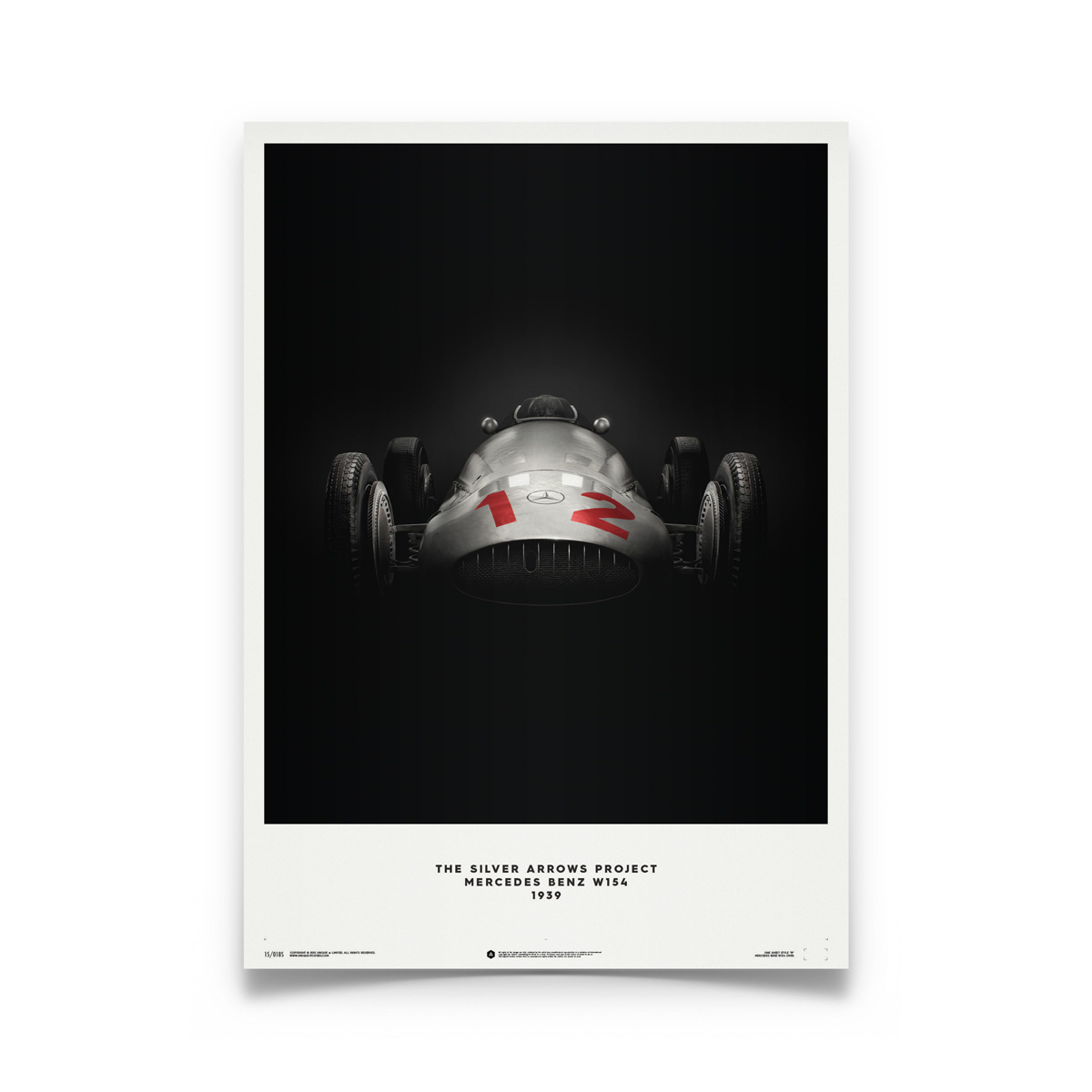 Product image for Mercedes Benz W154 Silver 1938 Poster
