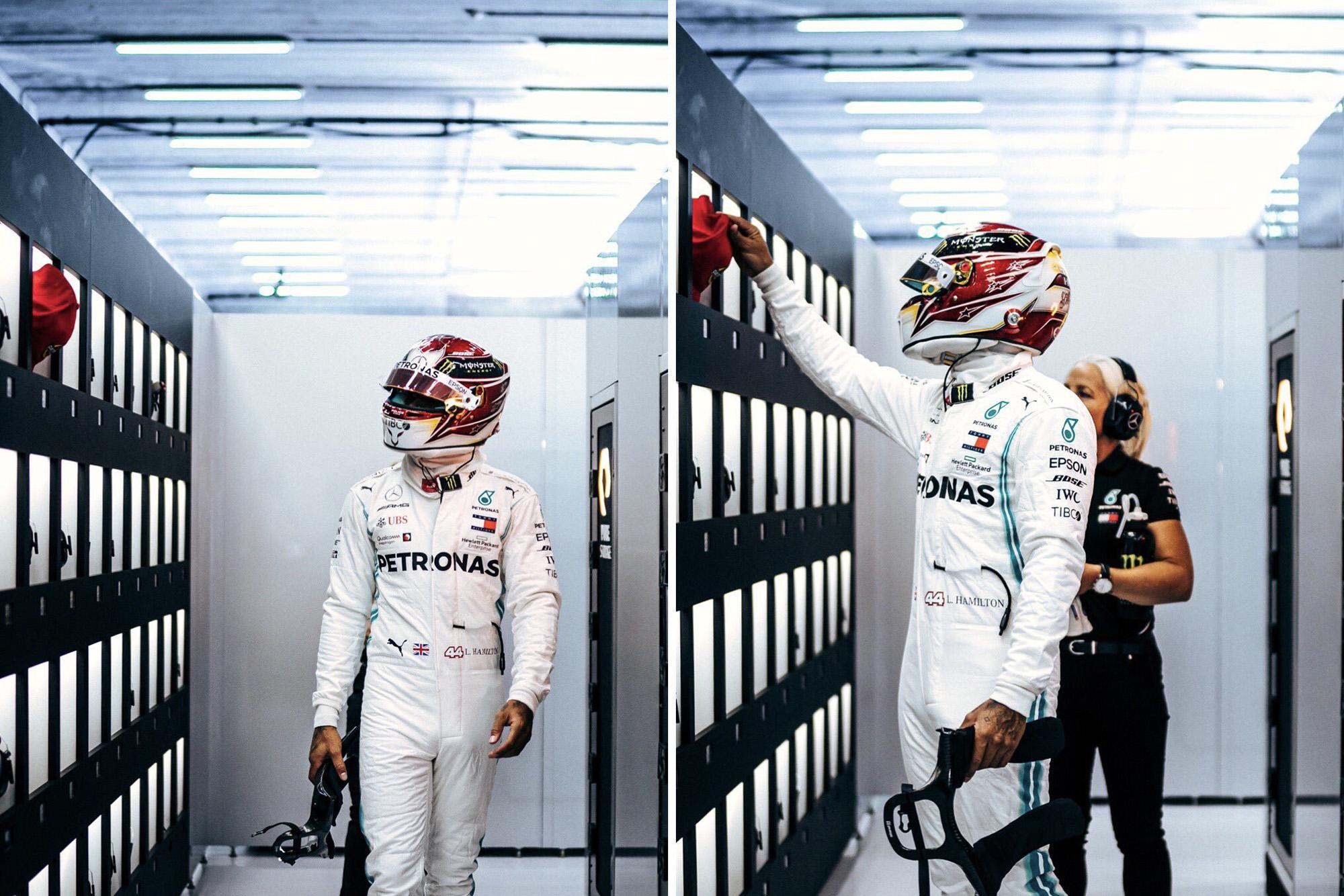 Lewis Hamilton pays tribute to Niki Lauda as he passes his red cap