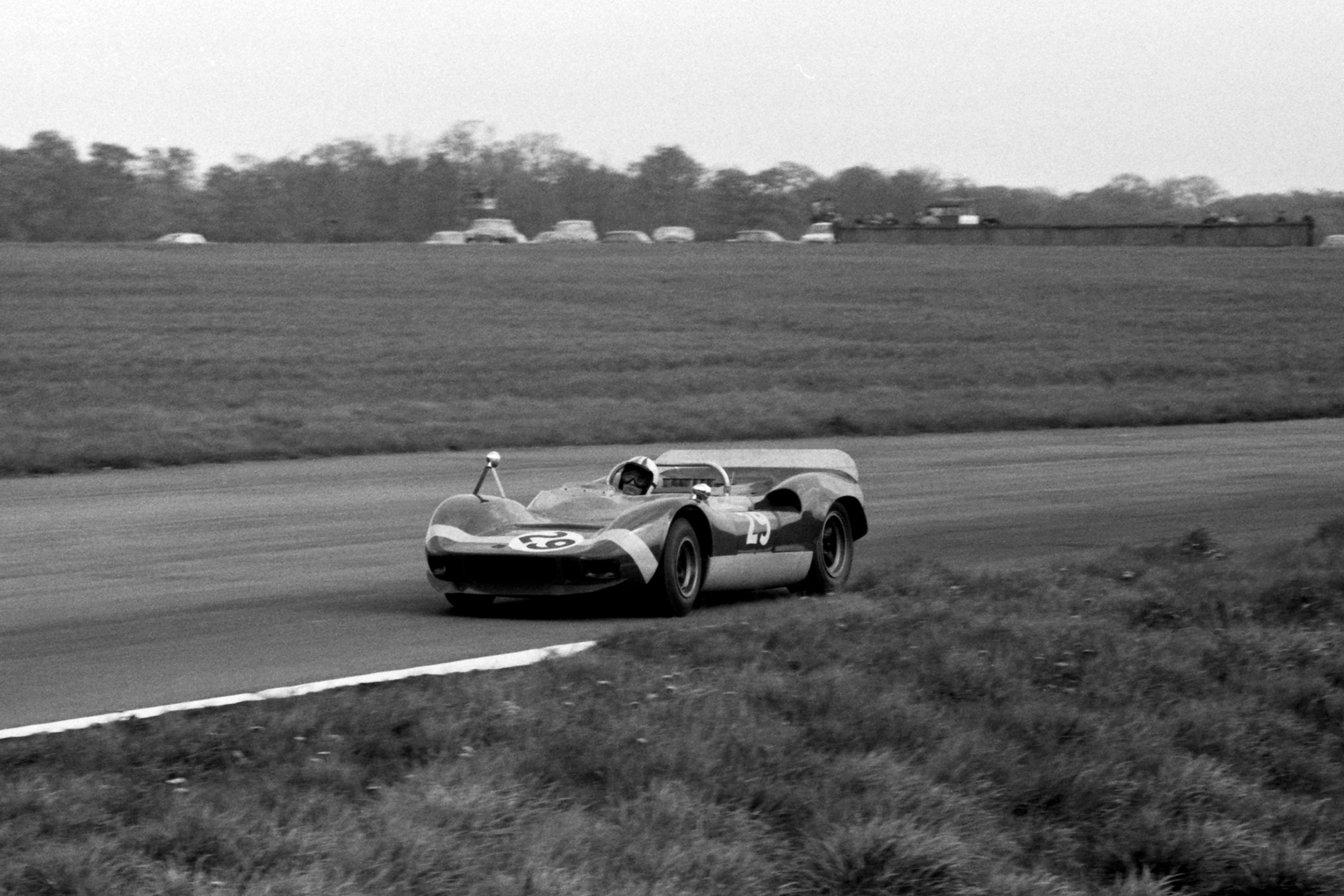 Chris Amon in a McLaren Elva Oldsmobile at the 1966 Silverstone International Trophy Meeting