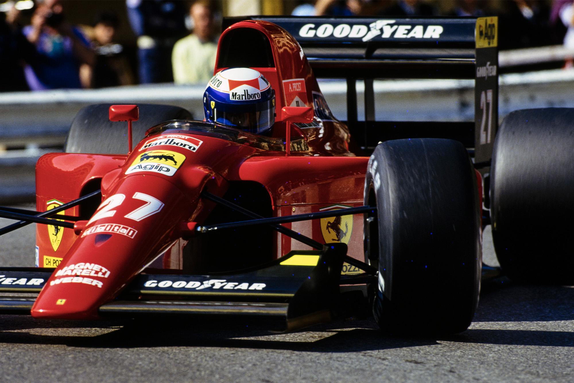 Alain Prost in the Ferrari