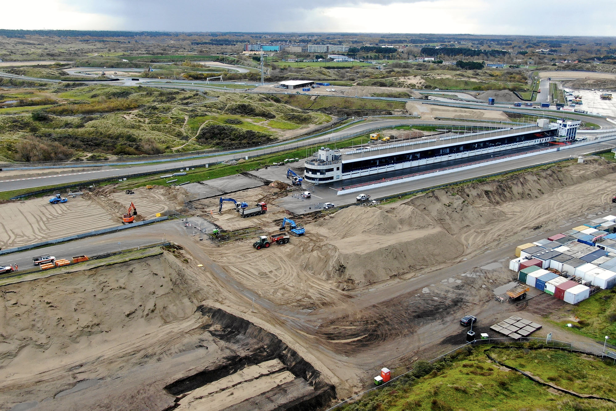 Construction work on the pit straight at Zandvoort ahead of the 2020 Dutch Grand Prix