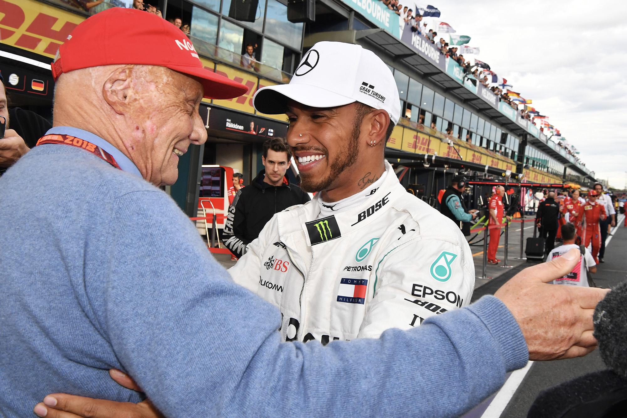 Niki Lauda embraces Lewis Hamilton