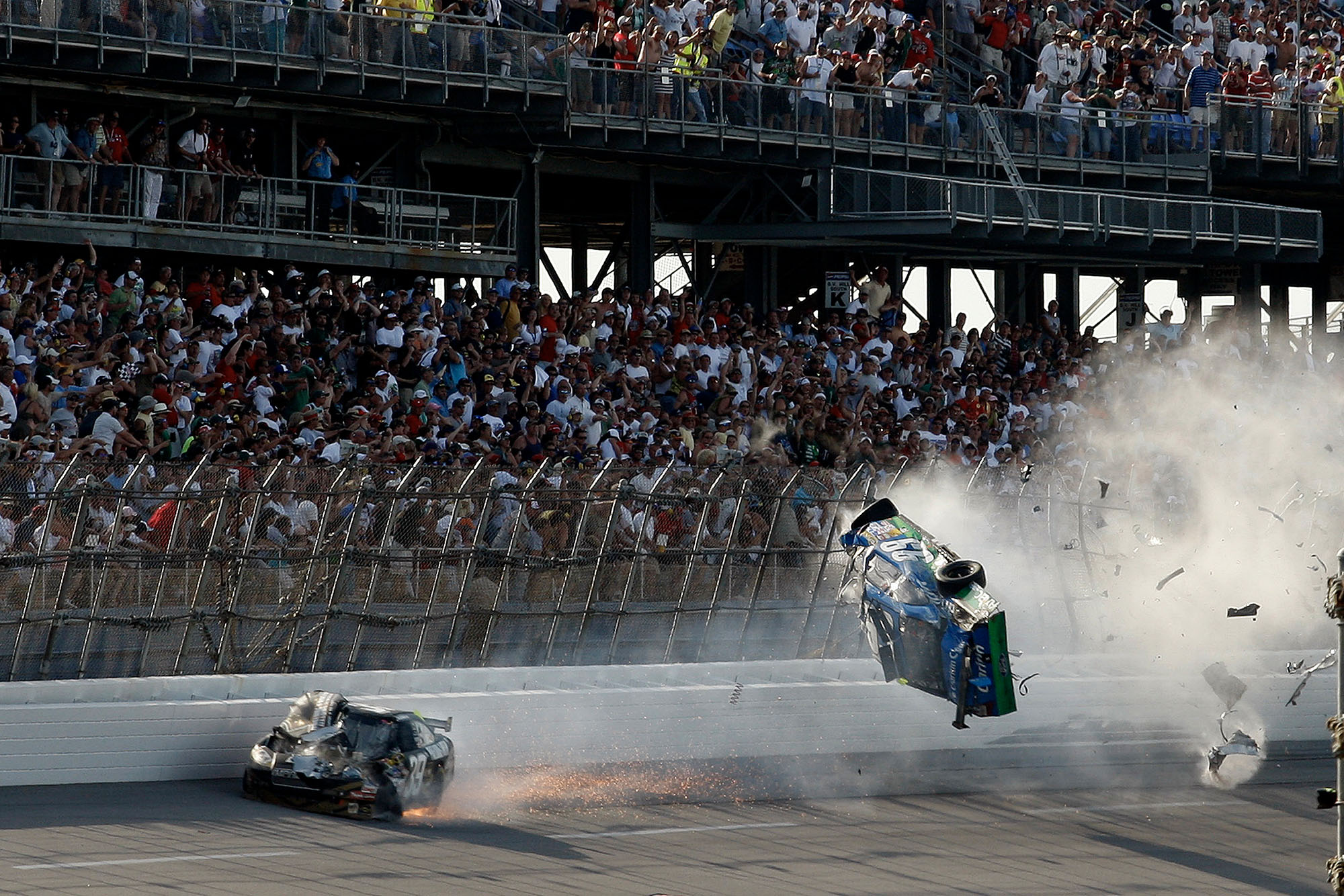 Carl Edwards is launched into the air after contact with Brad Keselowski at Talladega in 2009