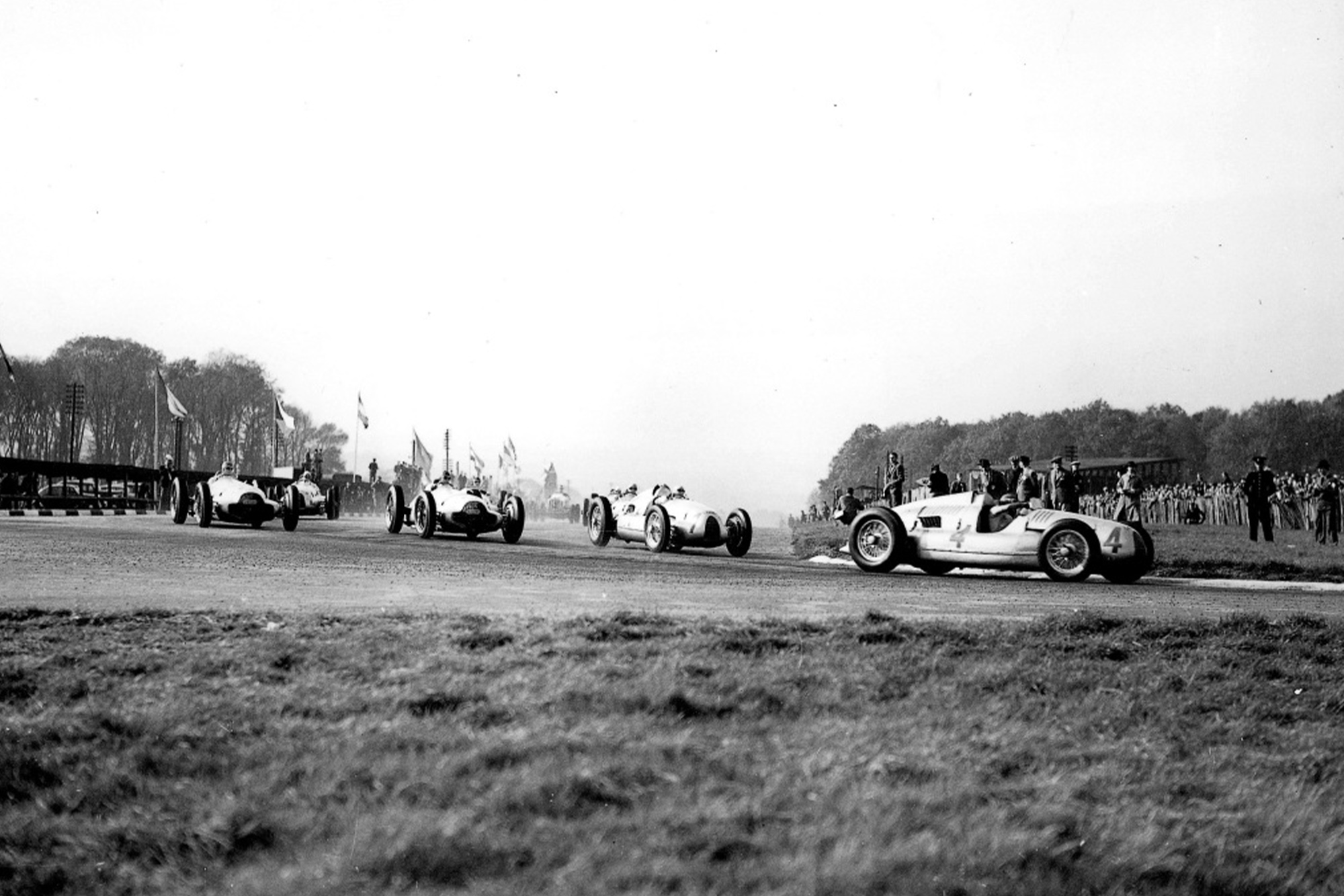 The Mercedes and Auto Unions during the 1938 British Grand Prix
