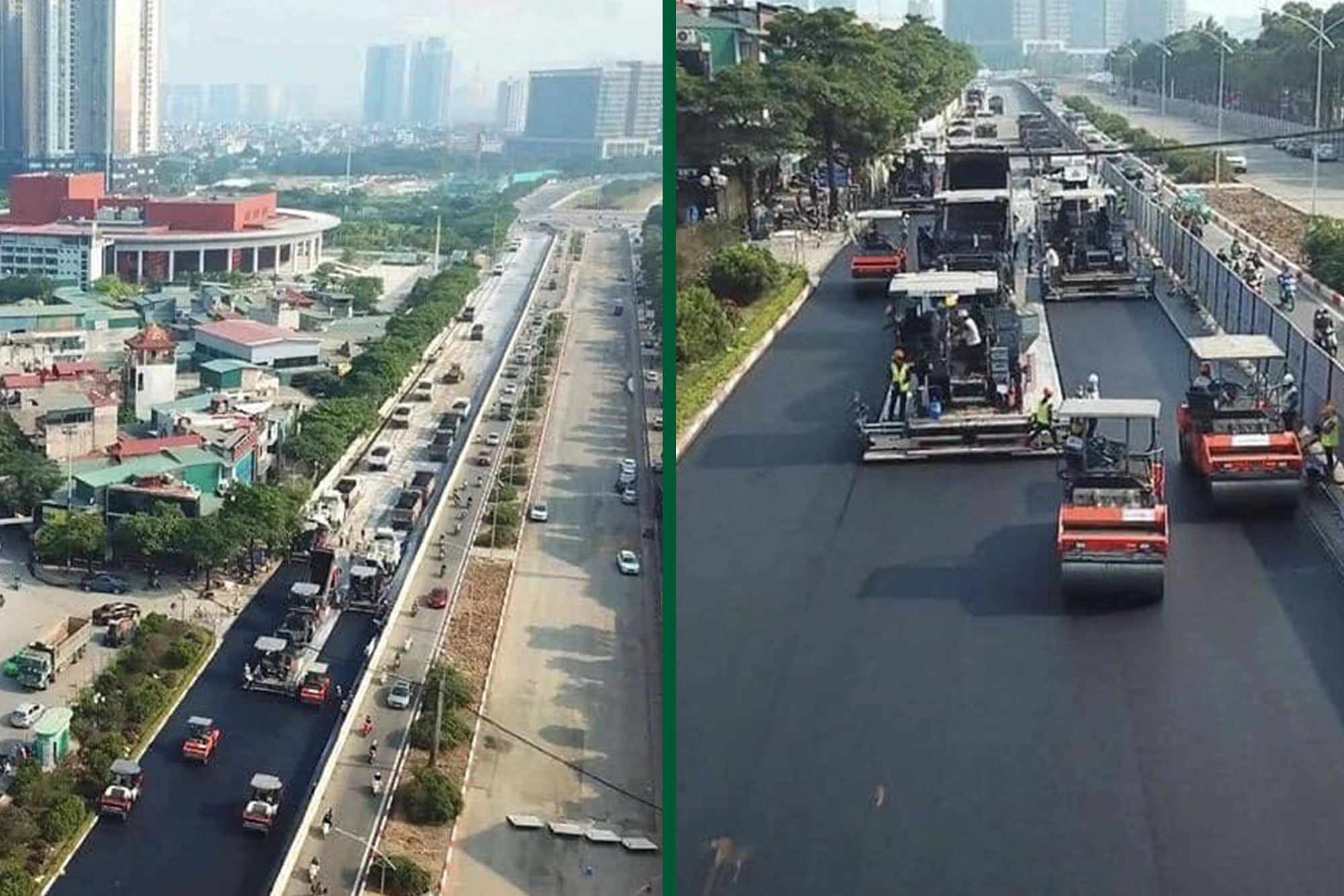 Hanoi street circuit surface being laid