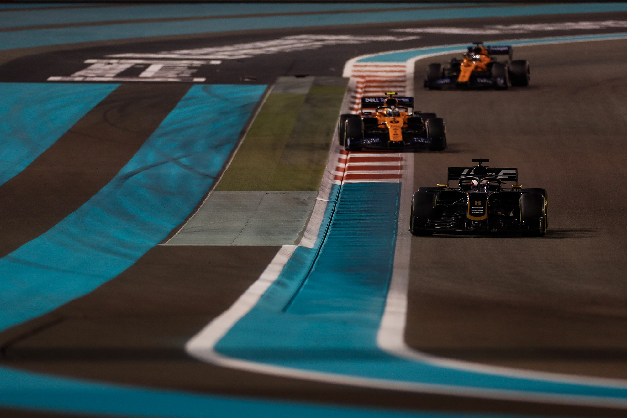 Romain Grosjean leads both McLarens during the 2019 Abu Dhabi Grand Prix
