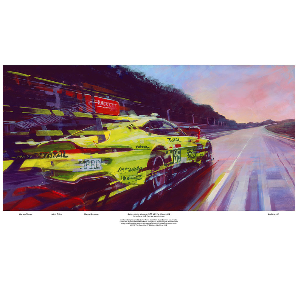 Product image for Aston Martin Vantage GTE #95 - Qualifying on Pole - Signed print