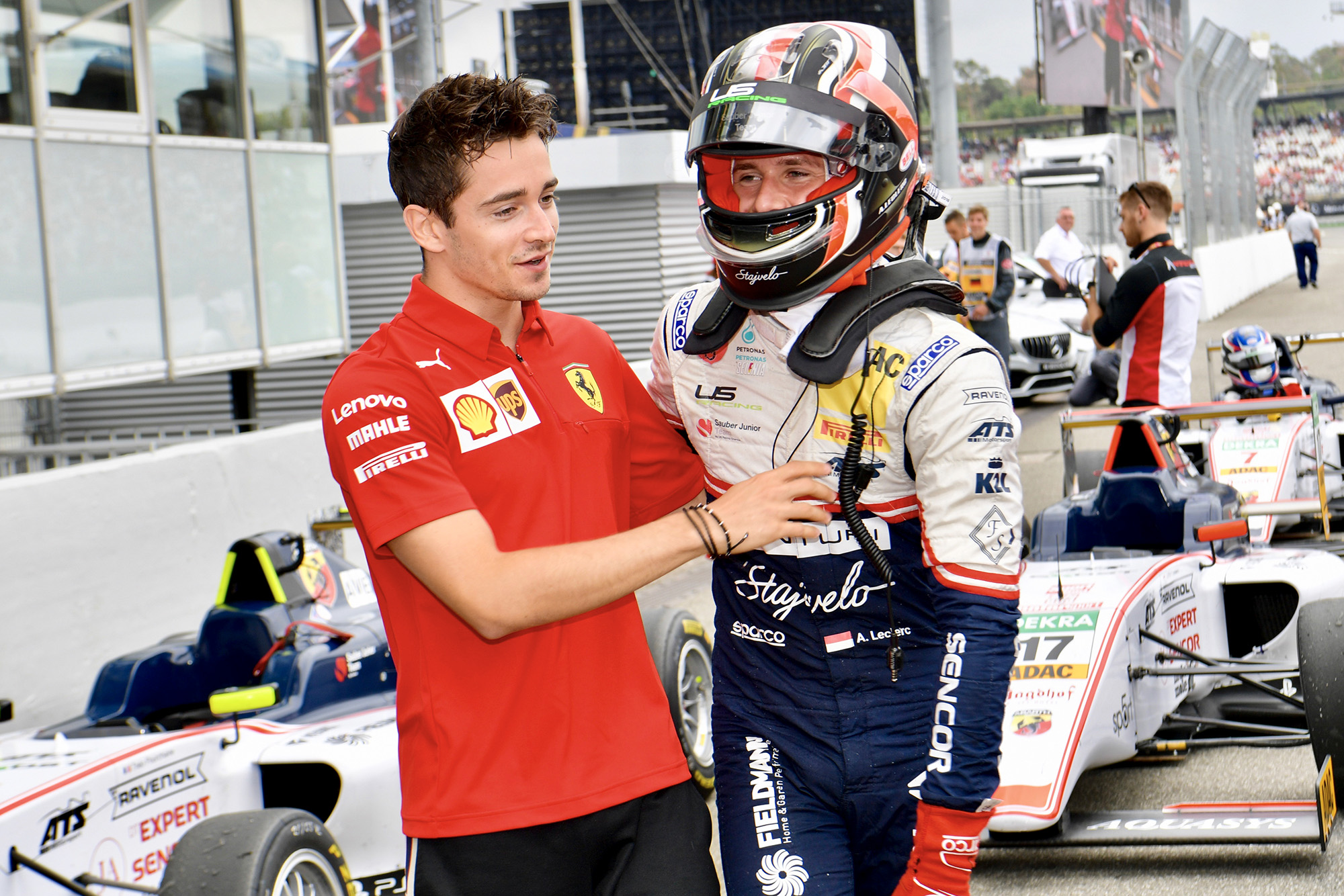 Charles Leclerc congratulates brother Arthur for winning at Hockenheim in F4