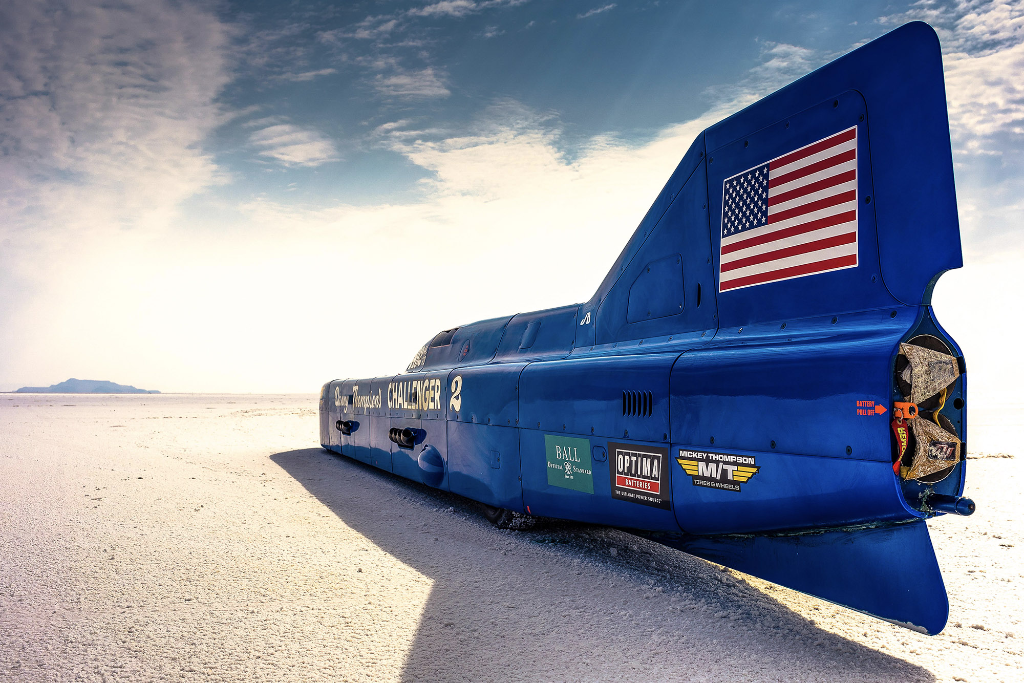 Rear view of the Challenger 2 land speed record car