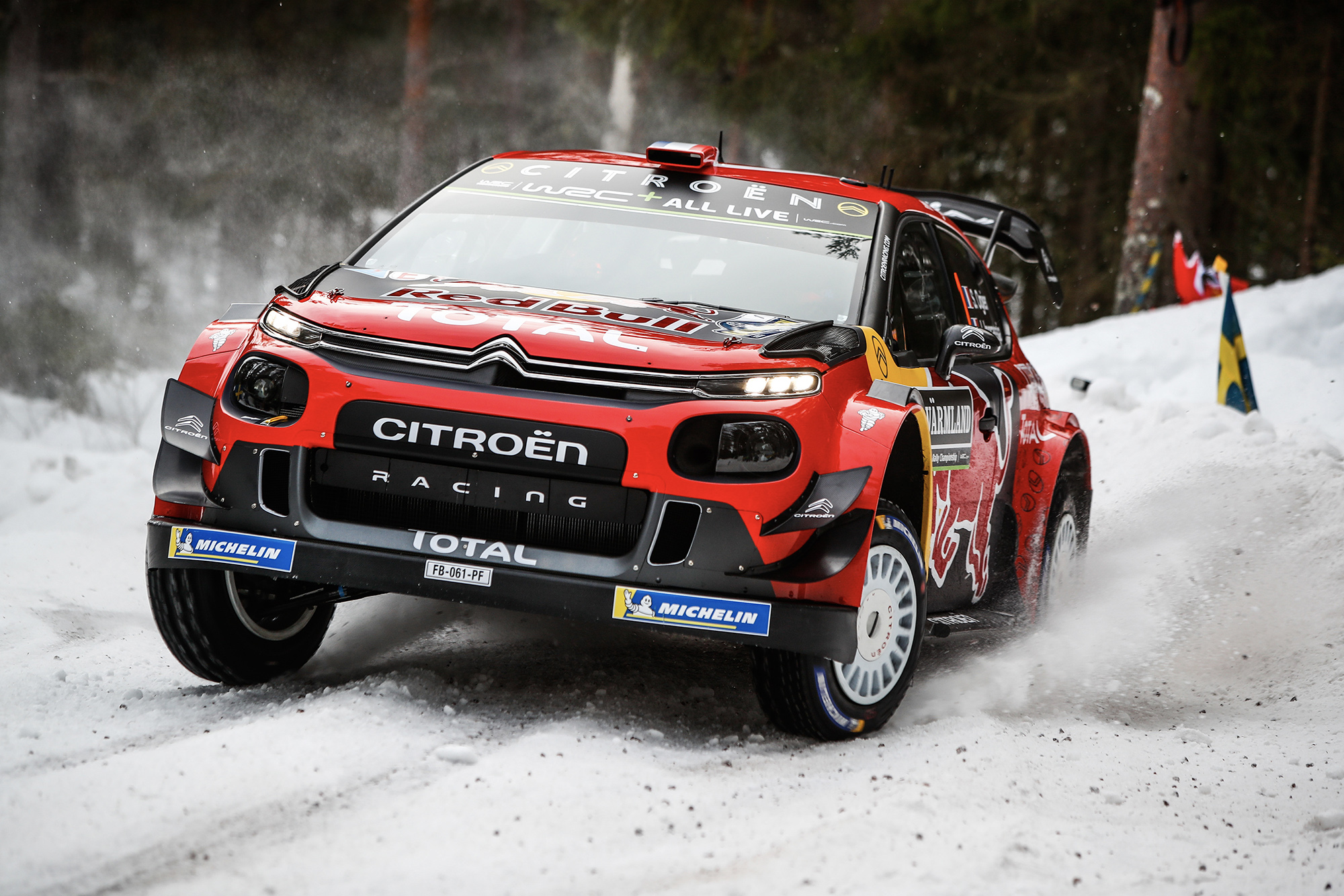 Sebastien Ogier on the snow during Rally Sweden 2019