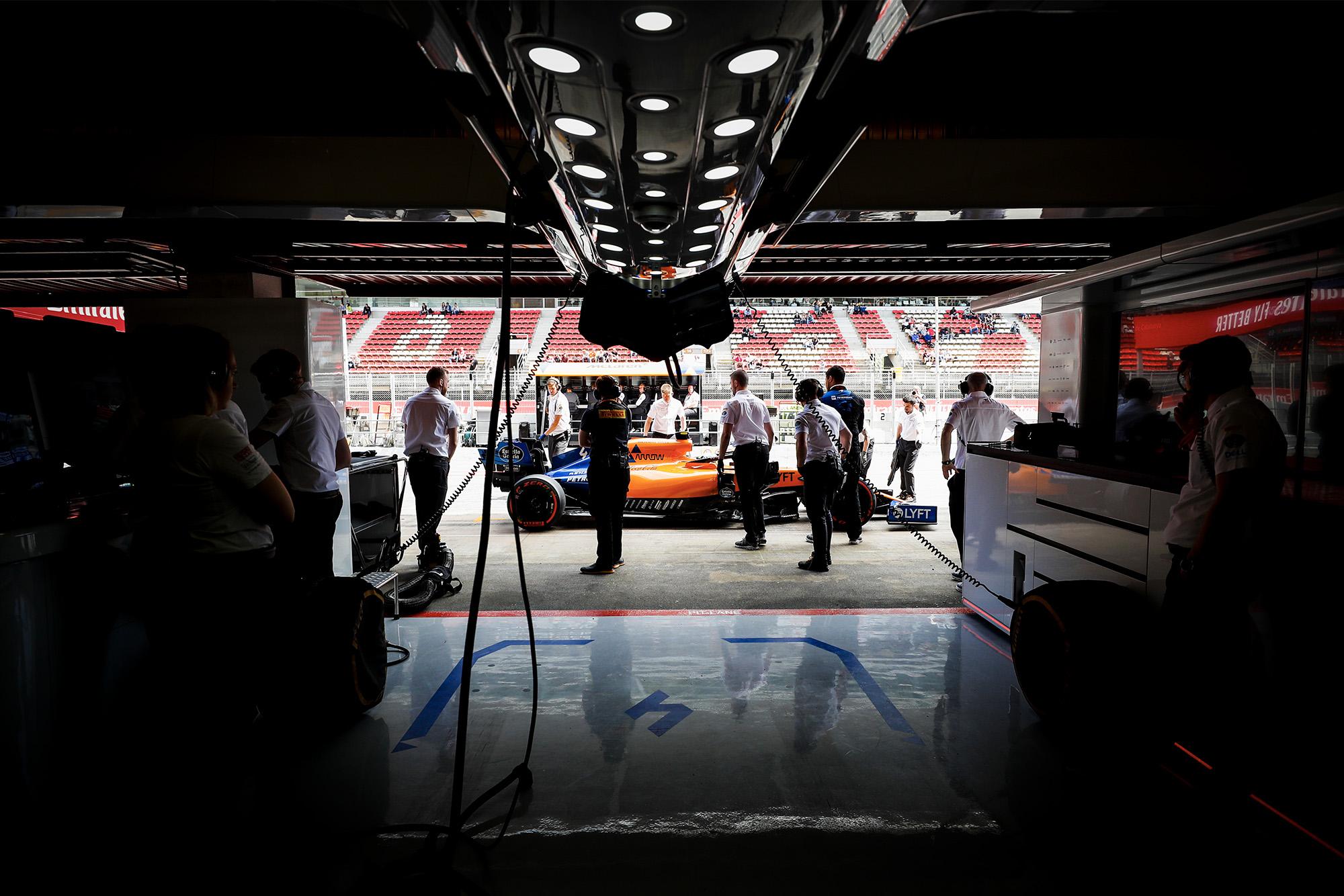 2019 McLaren pit garage