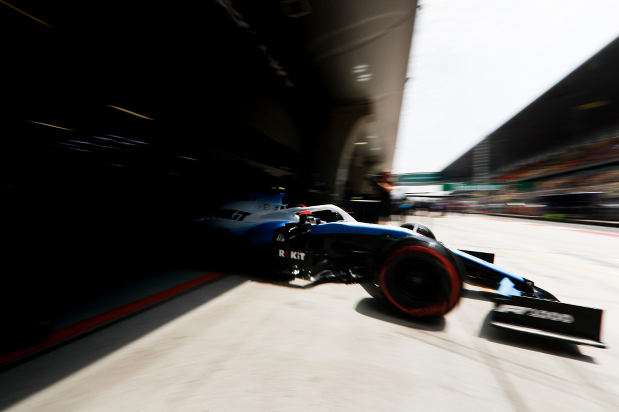 A Williams leaves the garage during the 2019 F1 season