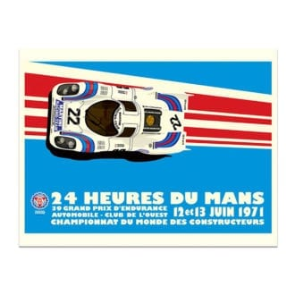 Product image for 1971 Martini Porsche 917 Le Mans 24 Hours Poster by Studio Bilbey