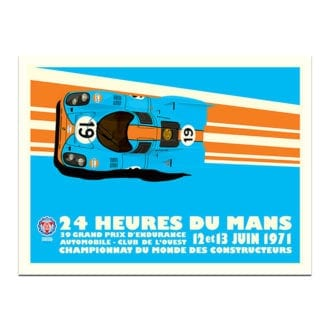 Product image for 1971 Gulf Porsche 917 Le Mans 24 Hours Poster by Studio Bilbey