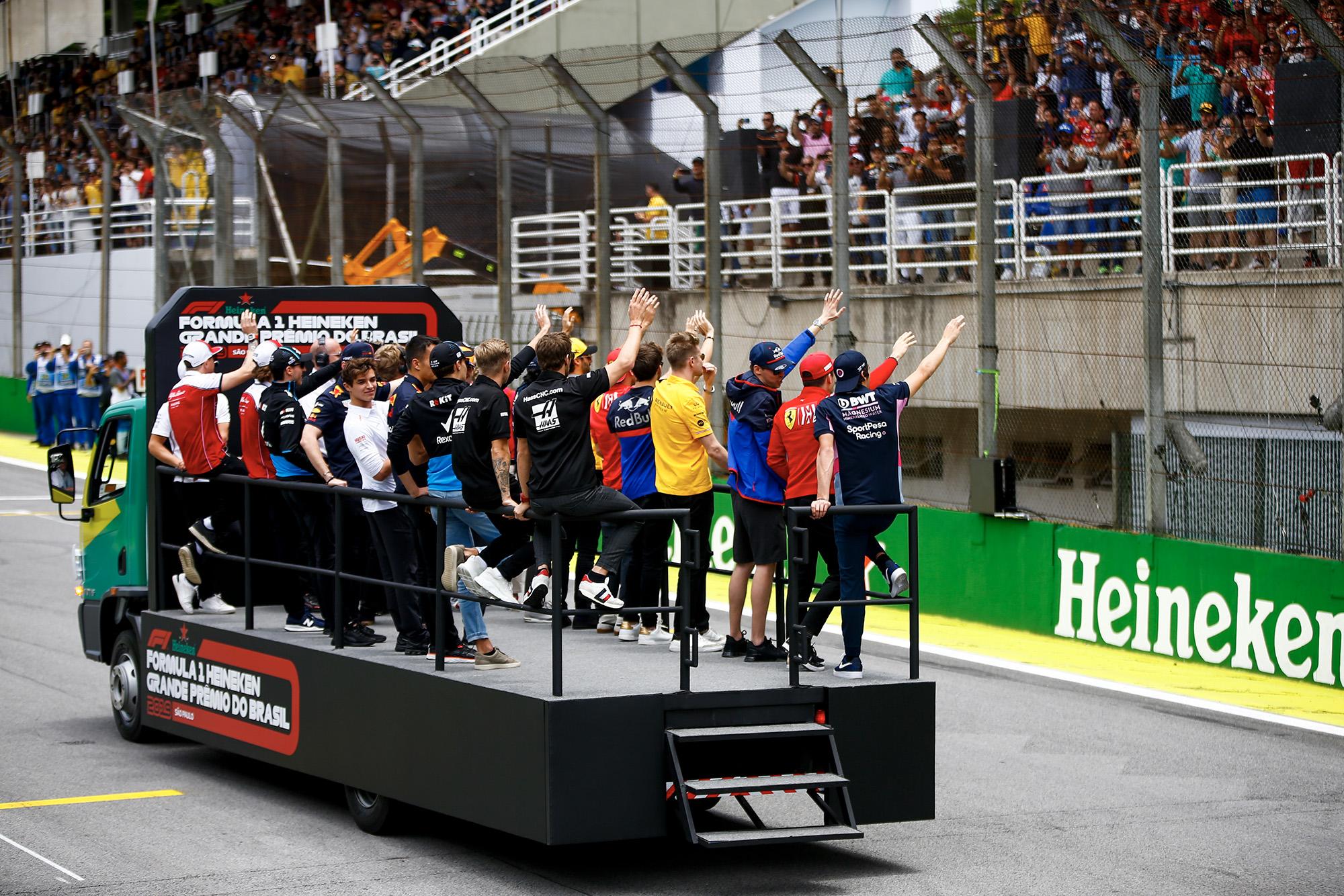 F1 drivers' parade at the 2019 Brazilian Grand Prix