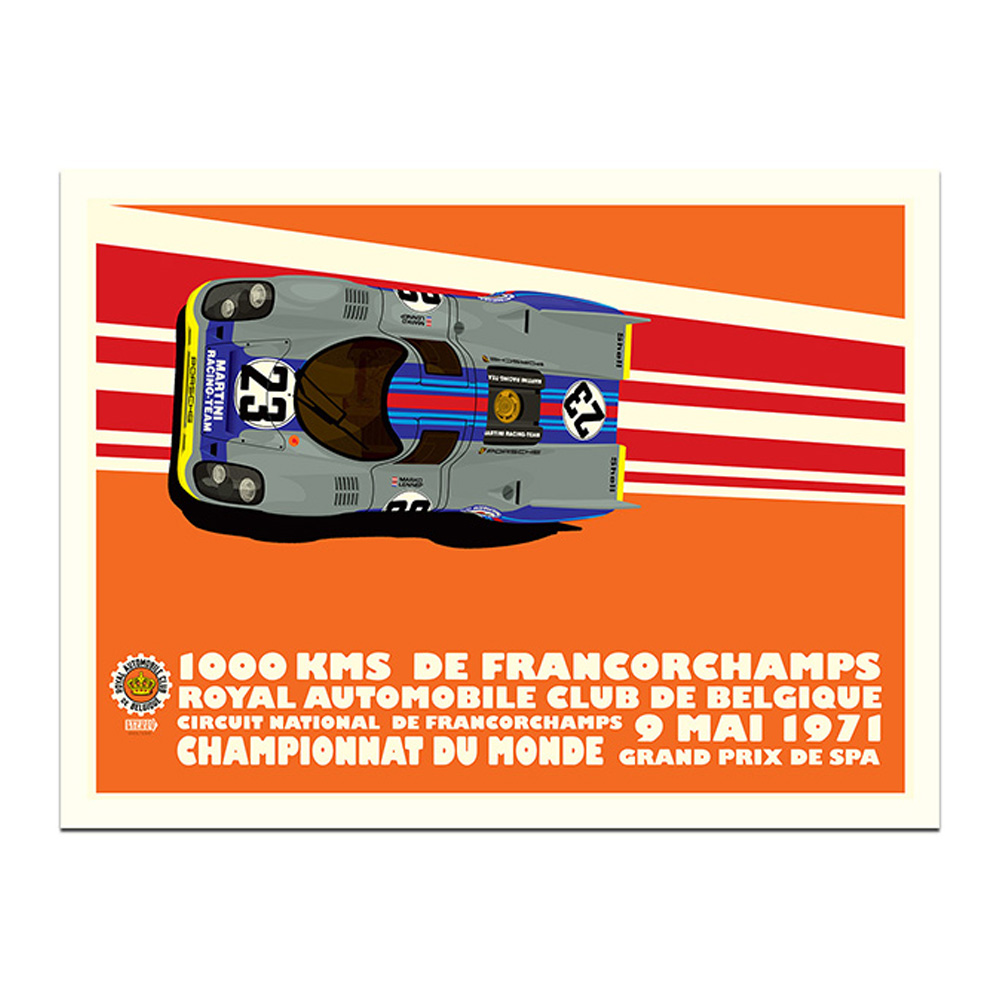 Product image for 1971 Martini Porsche 917 Spa 1000km Poster by Studio Bilbey