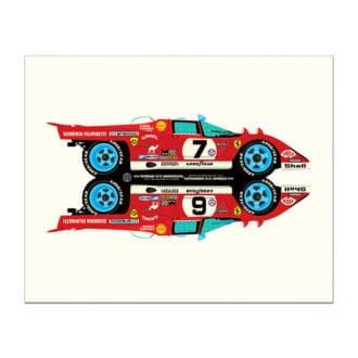 Product image for Ferrari 512M Rivals Le Mans 24 Hours Print by Studio Bilbey