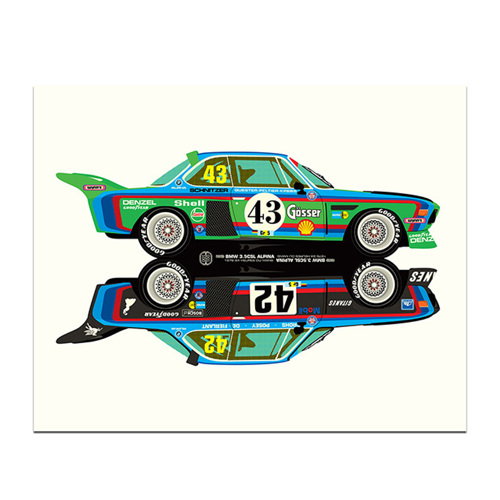 Product image for BMW 3.5CSL Rivals Le Mans 24 Hours Print by Studio Bilbey