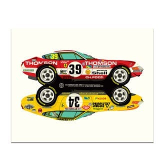 Product image for Ferrari 365GTB/4 Rivals Le Mans 24 Hours Print by Studio Bilbey