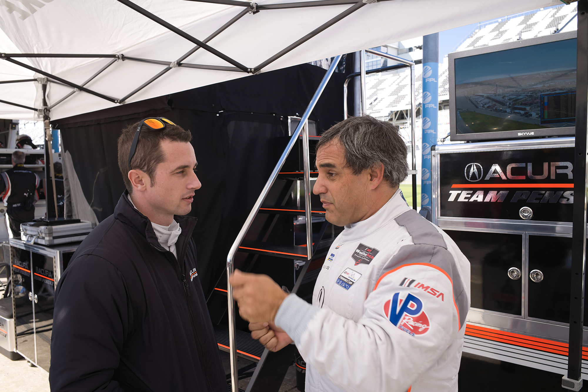 Juan Pablo Montoya with co-driver Dane Cameron at the 2020 Daytona 24
