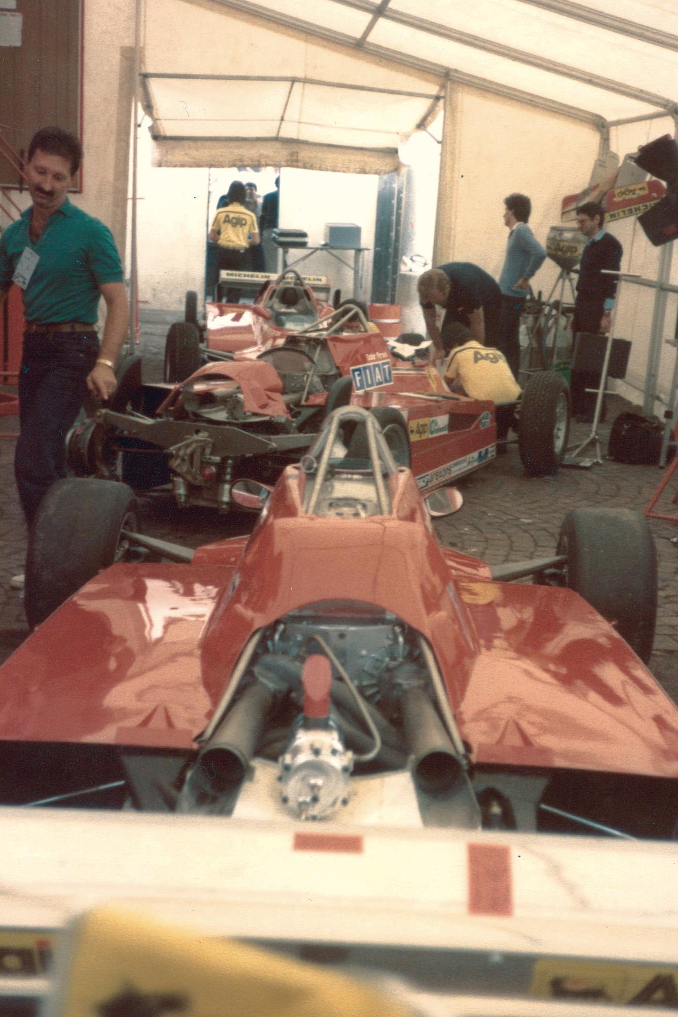 Ferraris in a paddock tent at the 1981 Italian Grand Prix