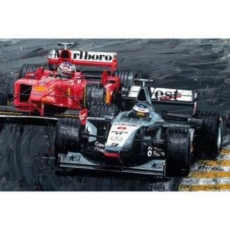 Product image for Mika Hakkinen & Michael Schumacher  Duel of Champions Giclée Print