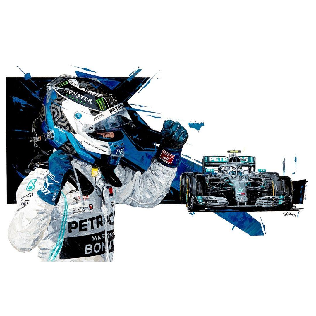 Product image for Valtteri Bottas  2019 Mercedes AMG F1 Giclée Print