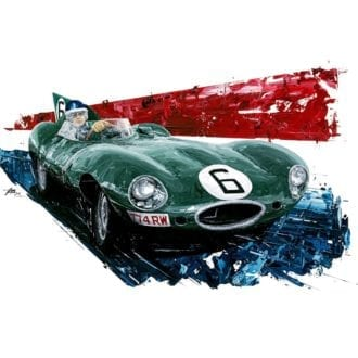 Product image for Mike Hawthorn 1955 Le Mans Winner Giclée Print