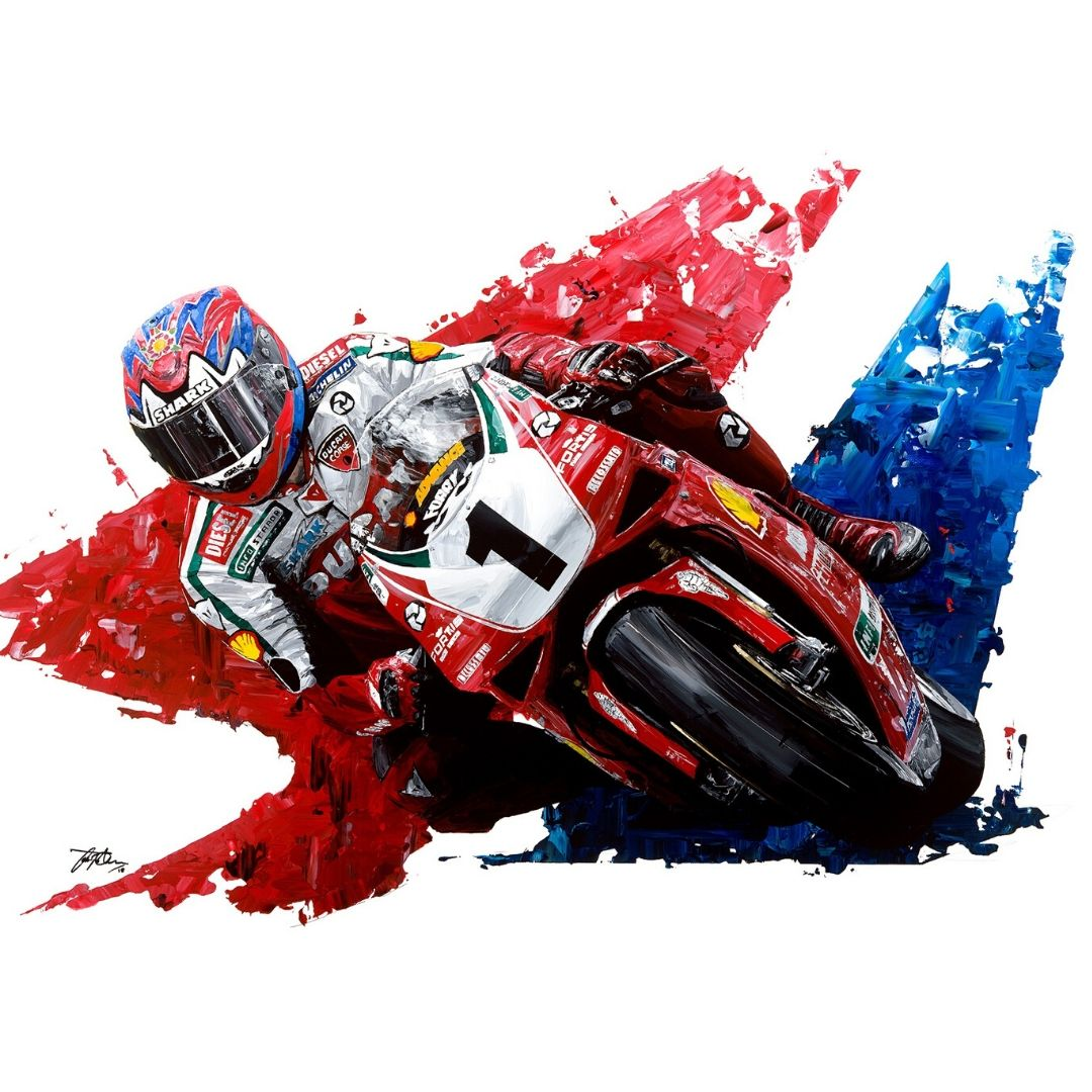 Product image for Carl Fogarty  4-Time World Superbike Champion Giclée Print