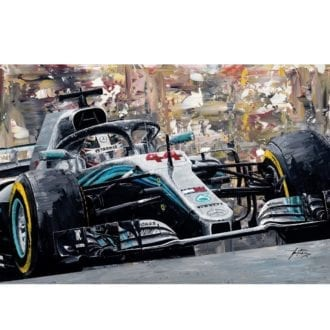 Product image for Lewis Hamilton 2018 Mercedes AMG F1 W09 Giclee Print