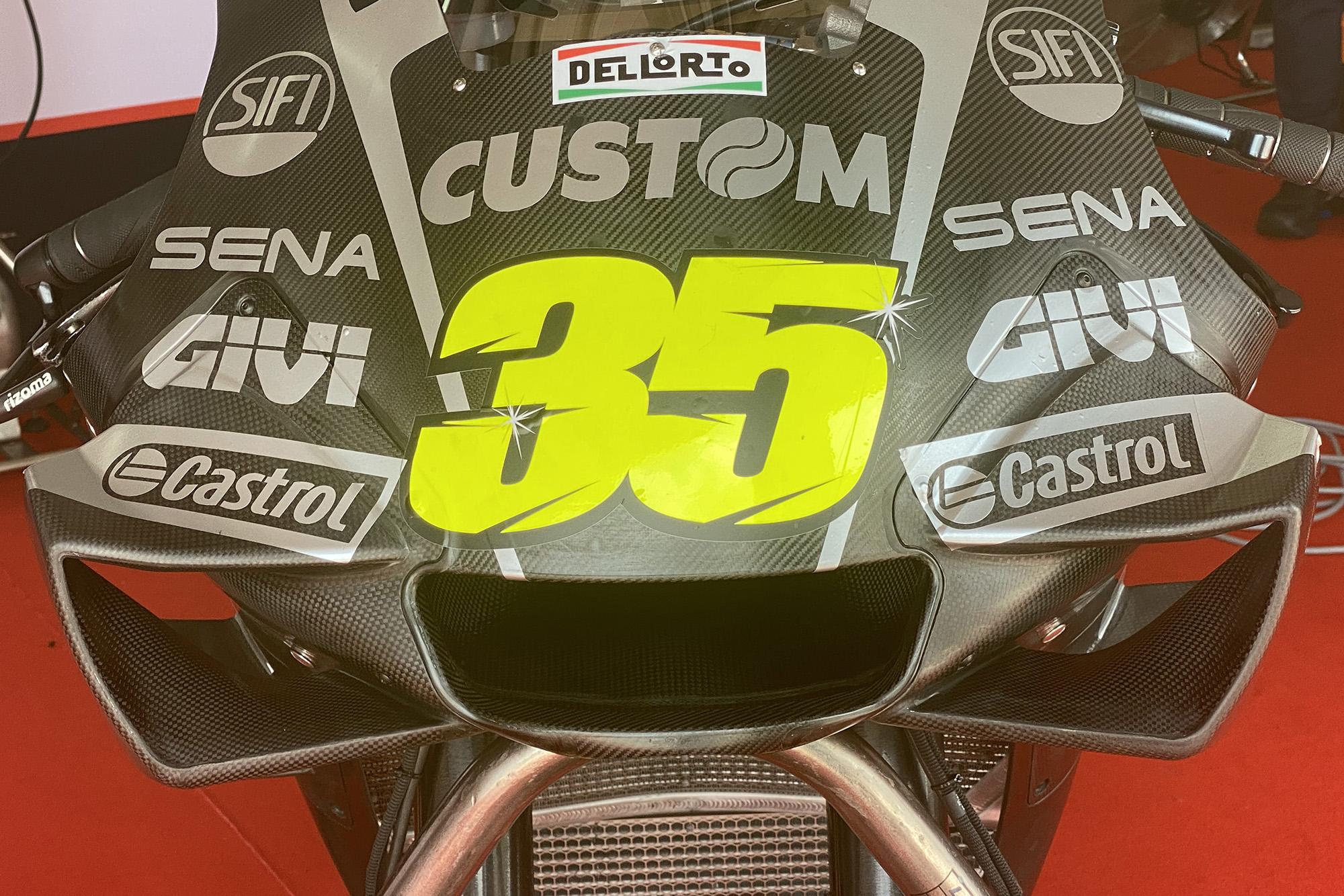 Front view of Cal Crutchlow's Honda in 2020 MotoGP testing at Sepang