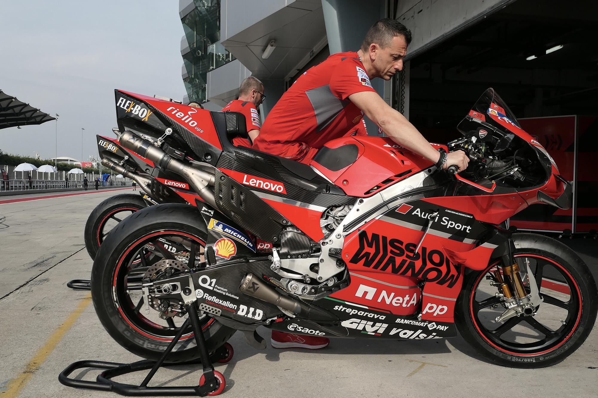 Side view of Andrea Dovizioso's Ducati in 2020 MotoGP Sepang testing