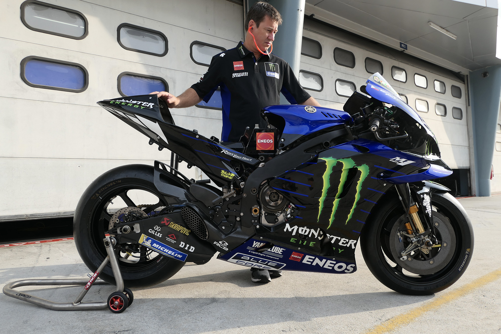 Side view of Valentino Rossi's Yamaha in 2020 Sepang MotoGP testing