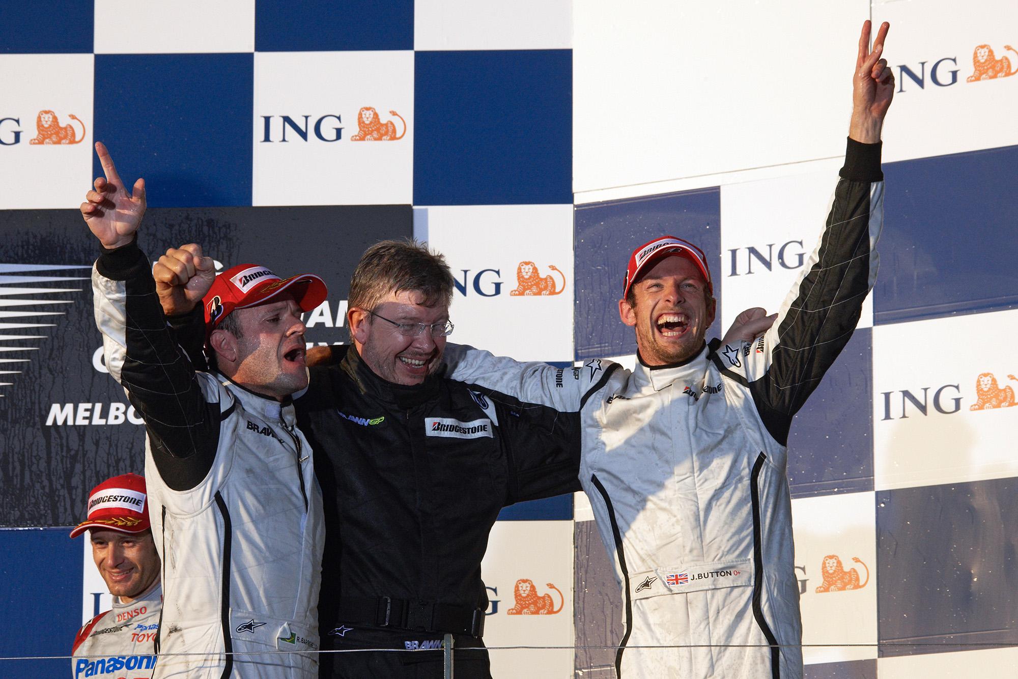 Rubens Barrichello, Ross BRawn and JEnson Button celebrate a 1-2 victory for Brawn GP in the 2009 Australian GP