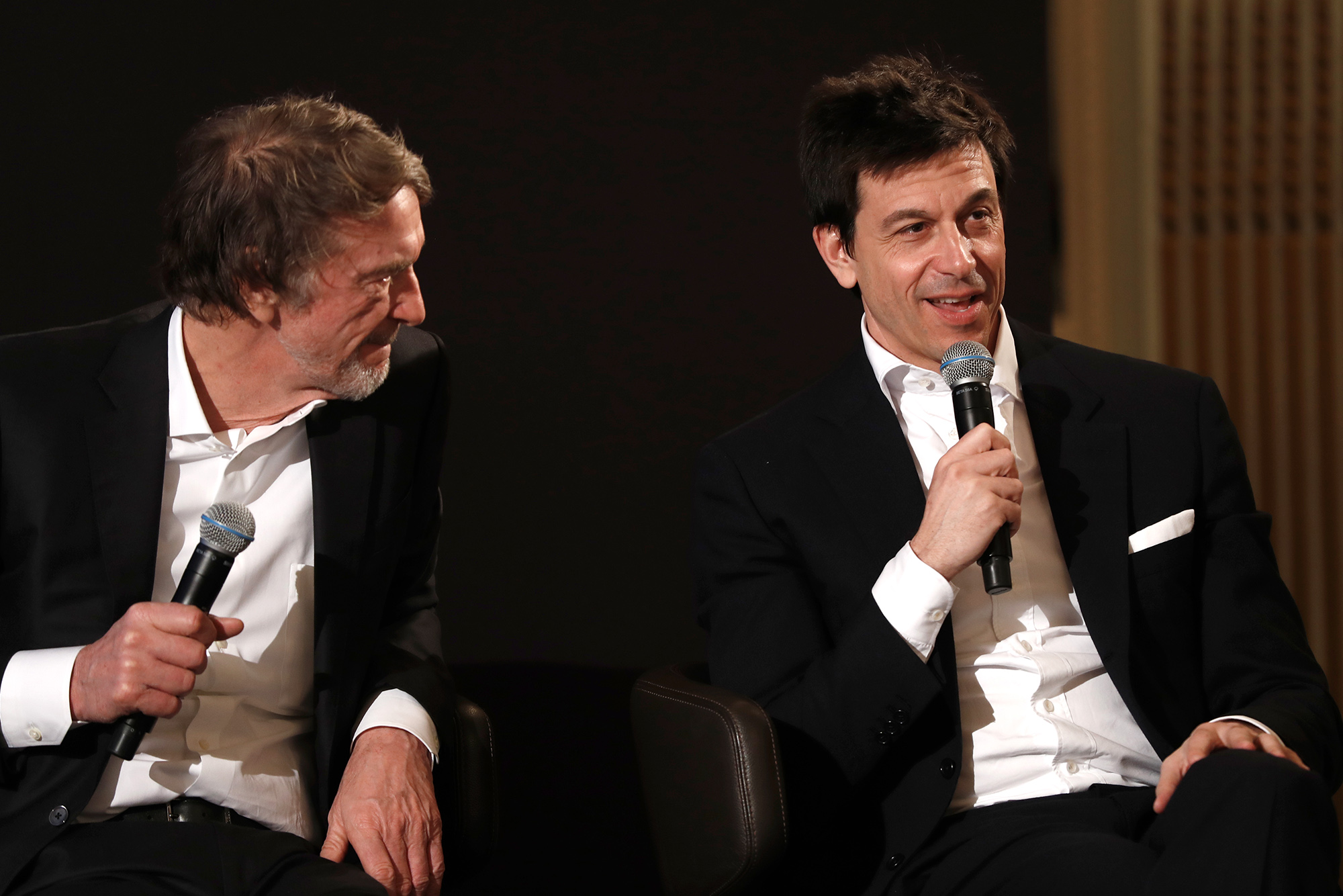 Toto Wolff speaking next to Sir Jim Ratcliffe at the Royal Automobile Club ahead of the 2020 F1 season
