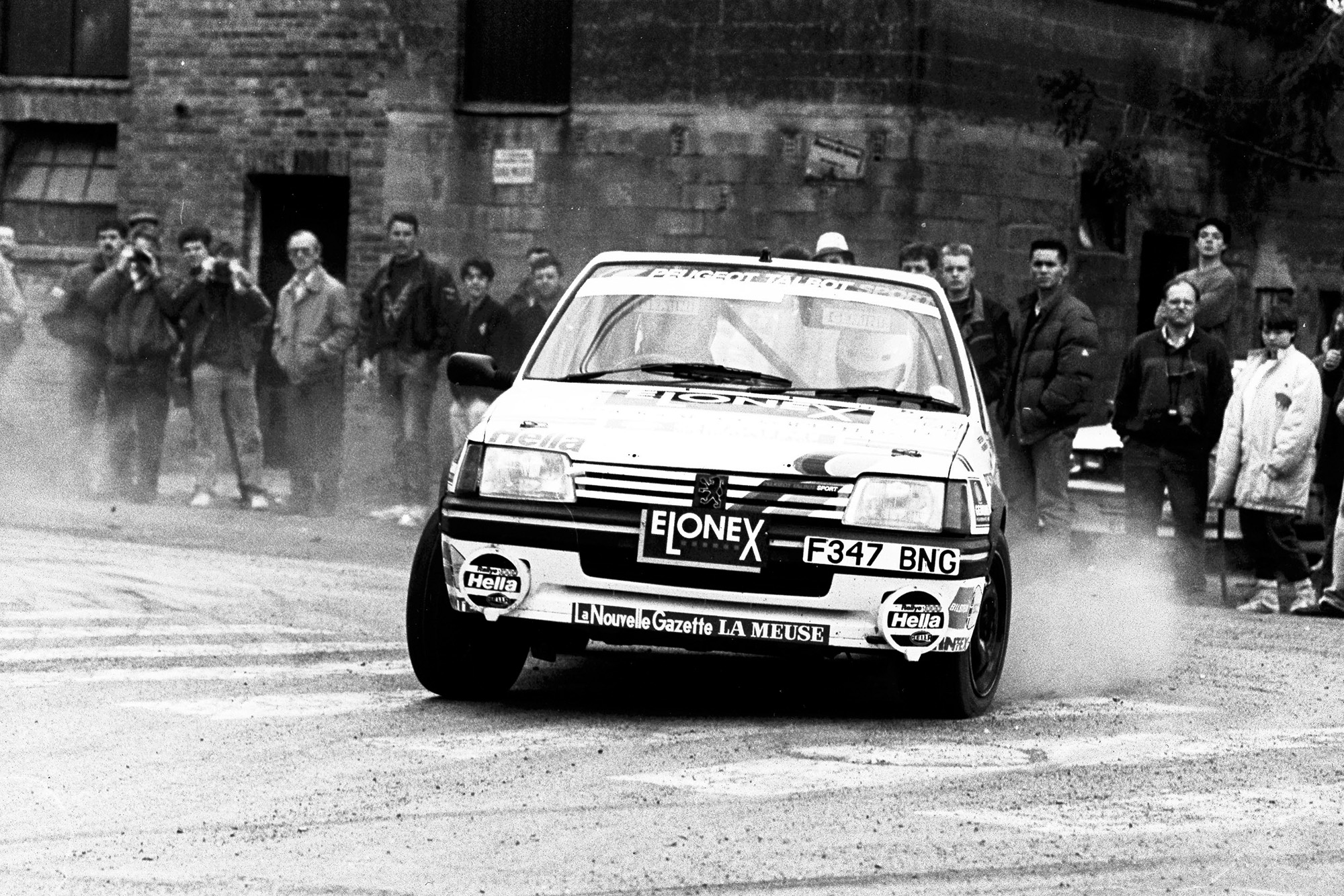 Richard Burns cornering in a Peugeot 205 at Circuit Ardennes in 1991