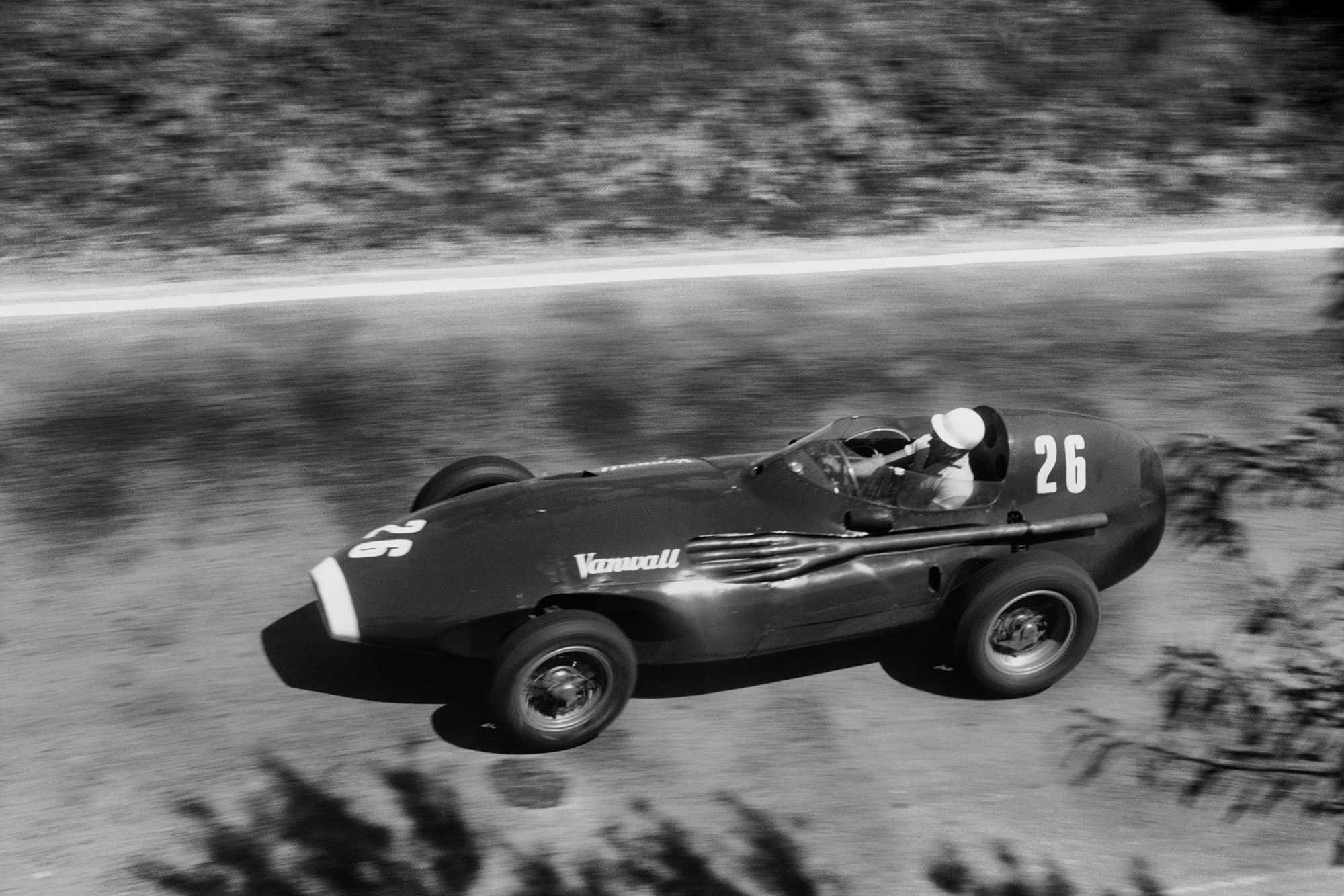 Stirling Moss driving in the 1957 Pescara Grand Prix