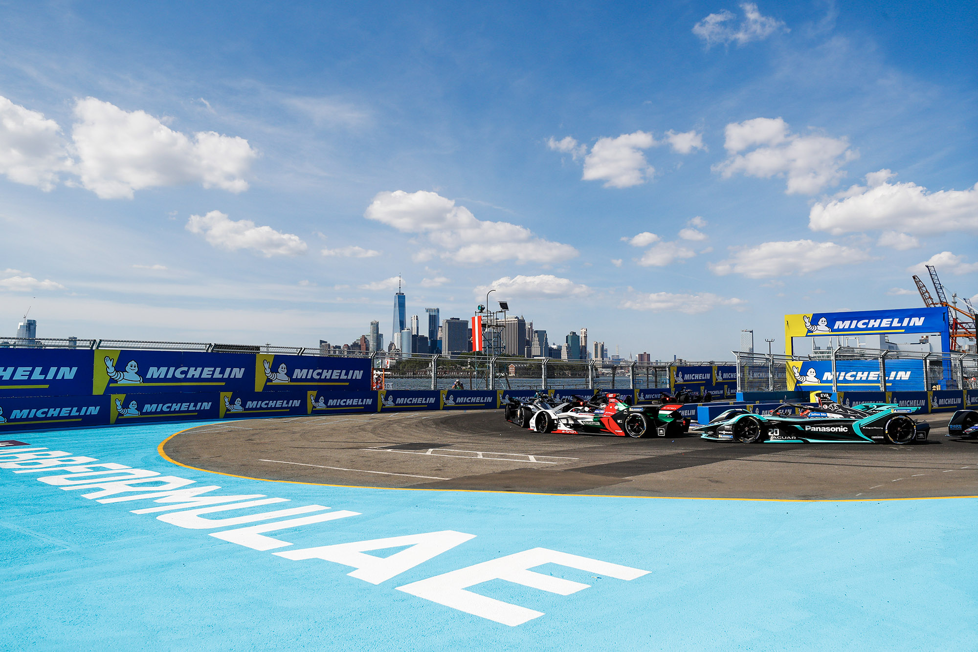 Shot of the skyline during the 2019 New York Formula E eprix