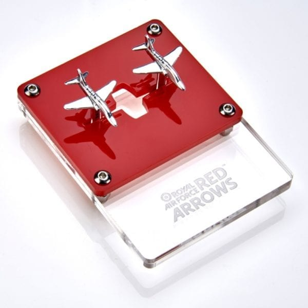 silver cufflinks made from red arrow plane