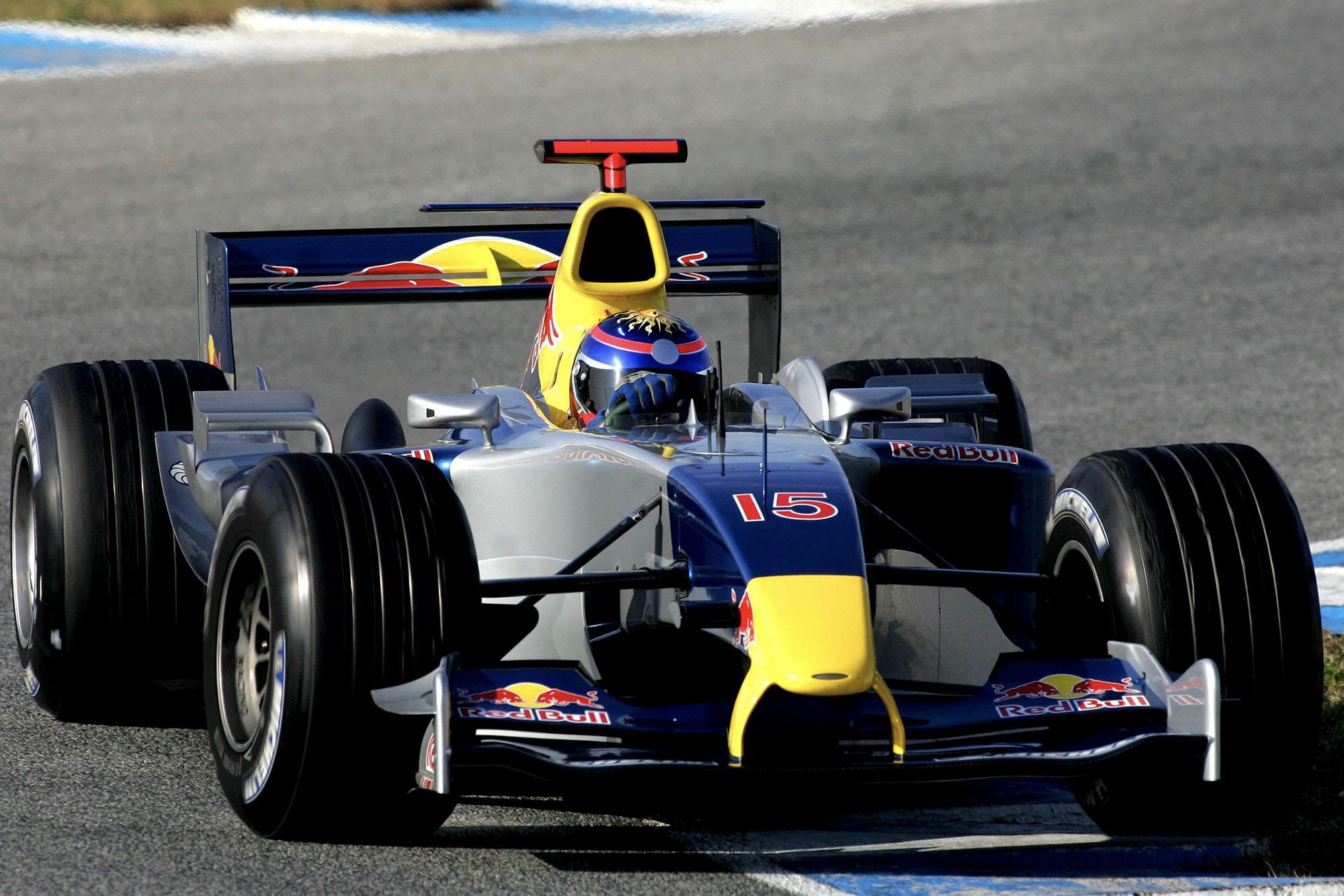 Neel Jani testing for Red Bull during 2004.