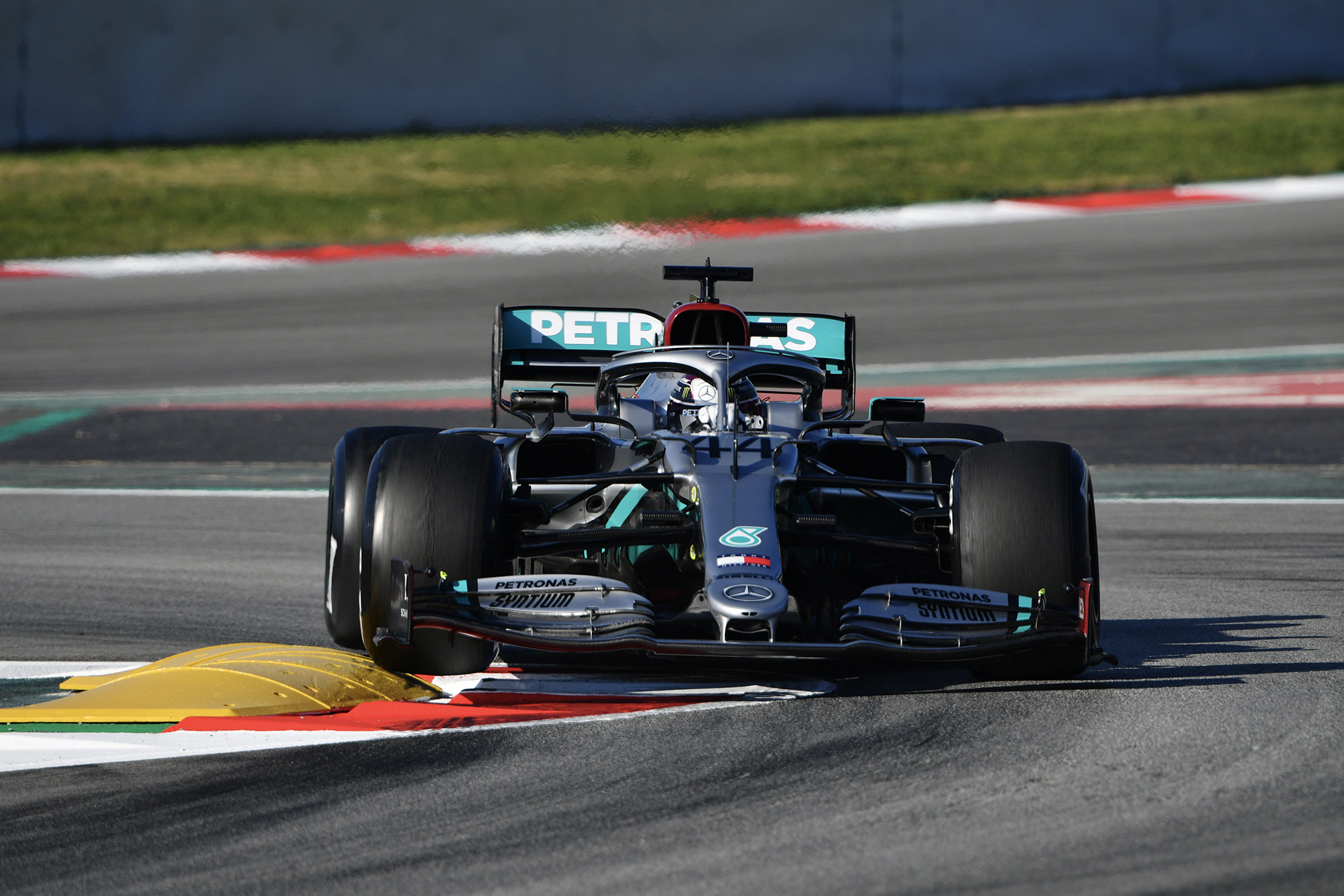 Lewis Hamilton cornering during testing