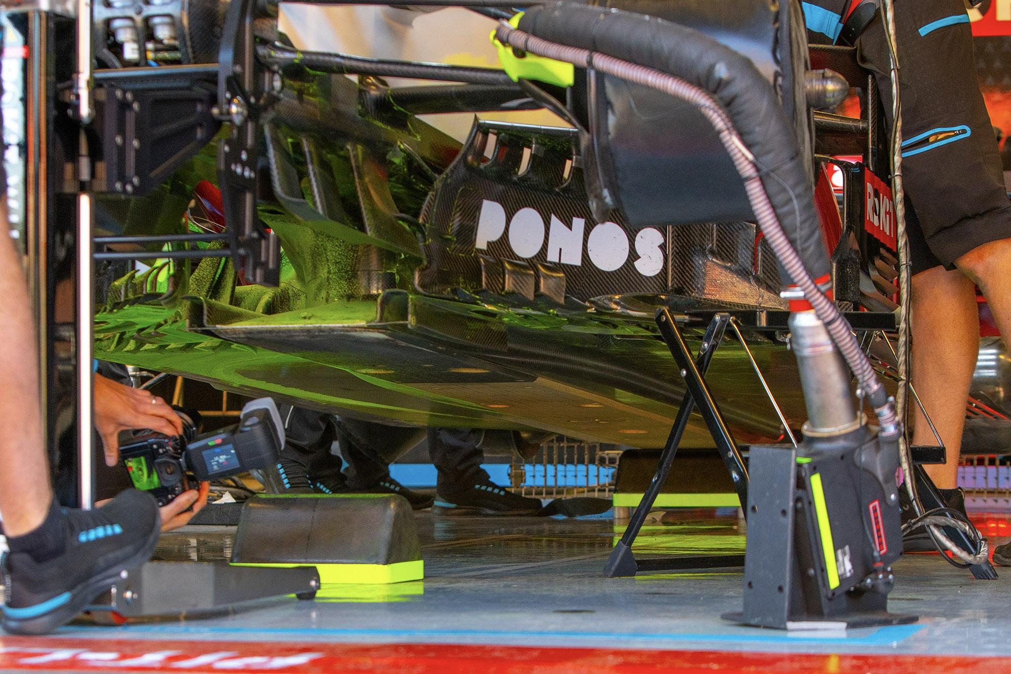 Flow-viz paint on the floor of the Williams during 2020 F1 preseason testing