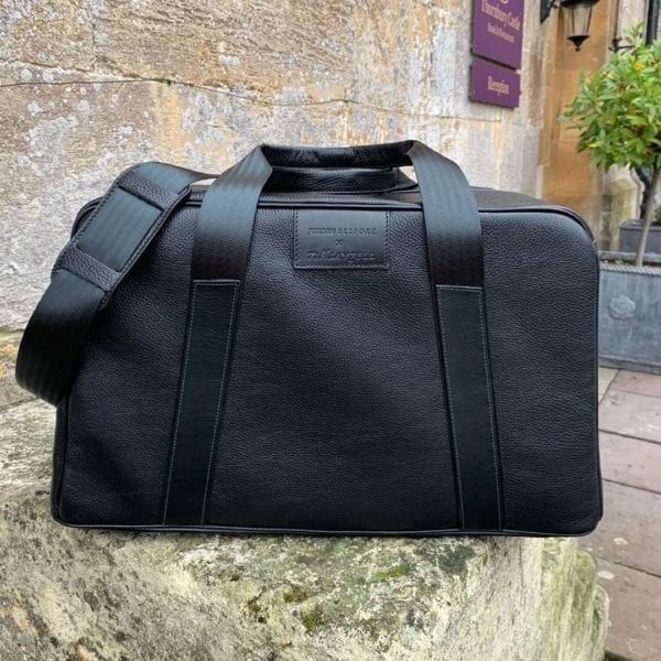 Stirling Moss Black leather art duffle bag