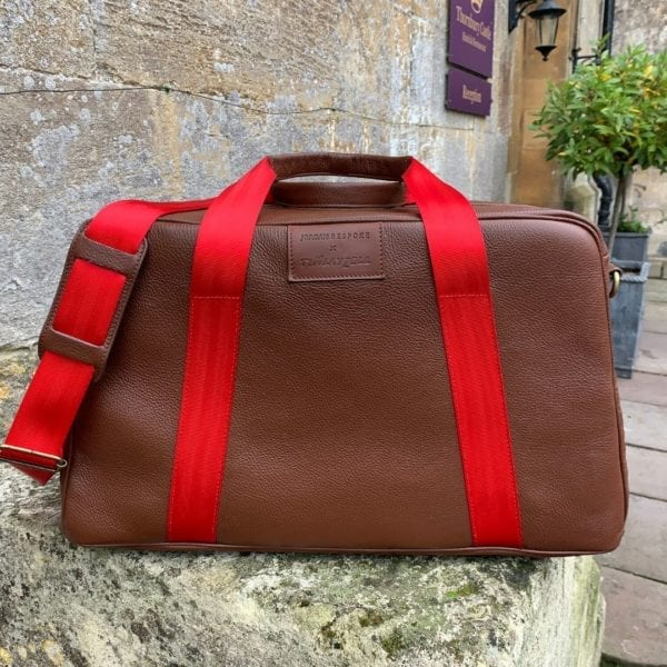 Fangio vs Peter collins in Ferrari and Maserati inspired Brown 'Leather Art' Duffle Bag