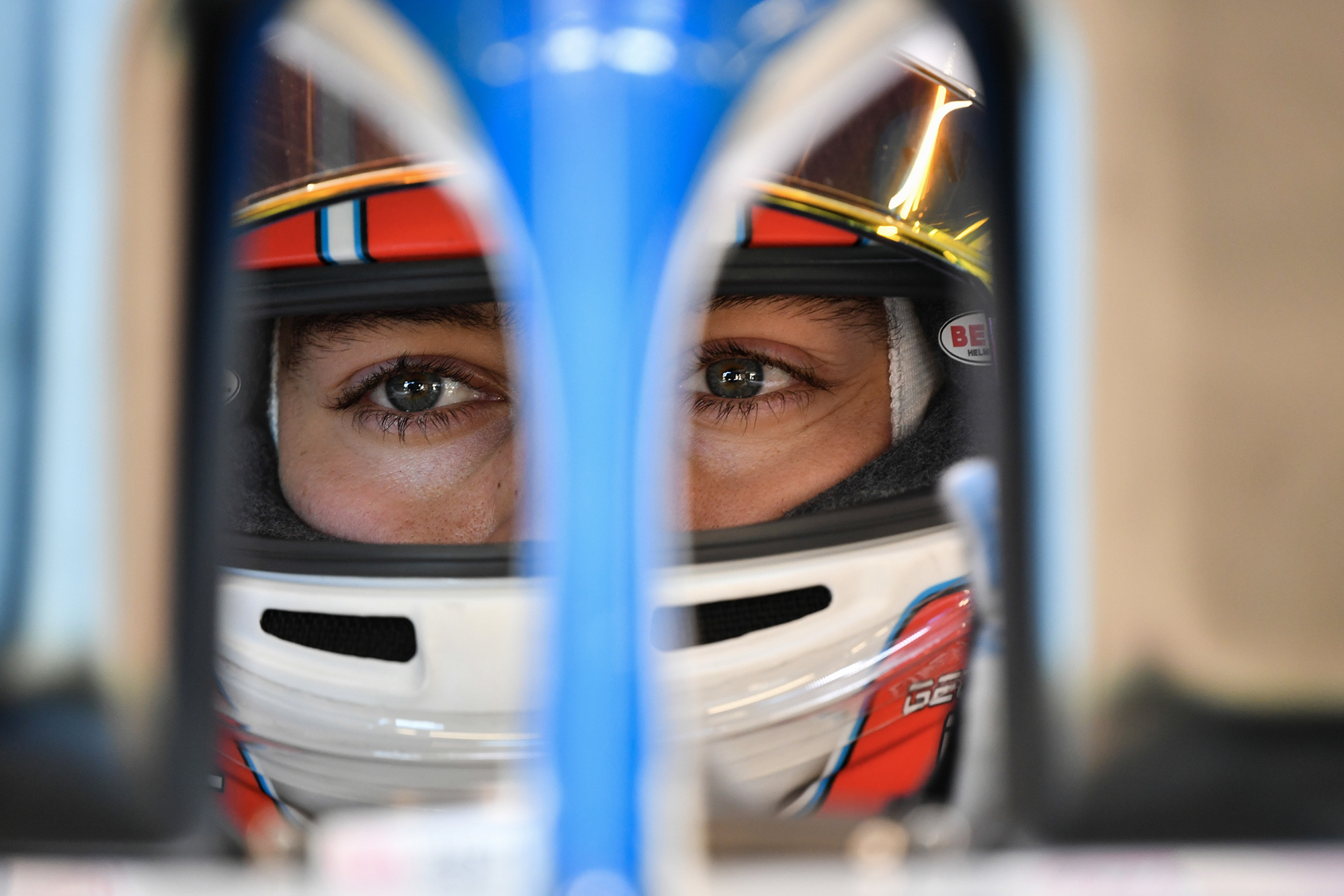 George Russell seen through his car's halo