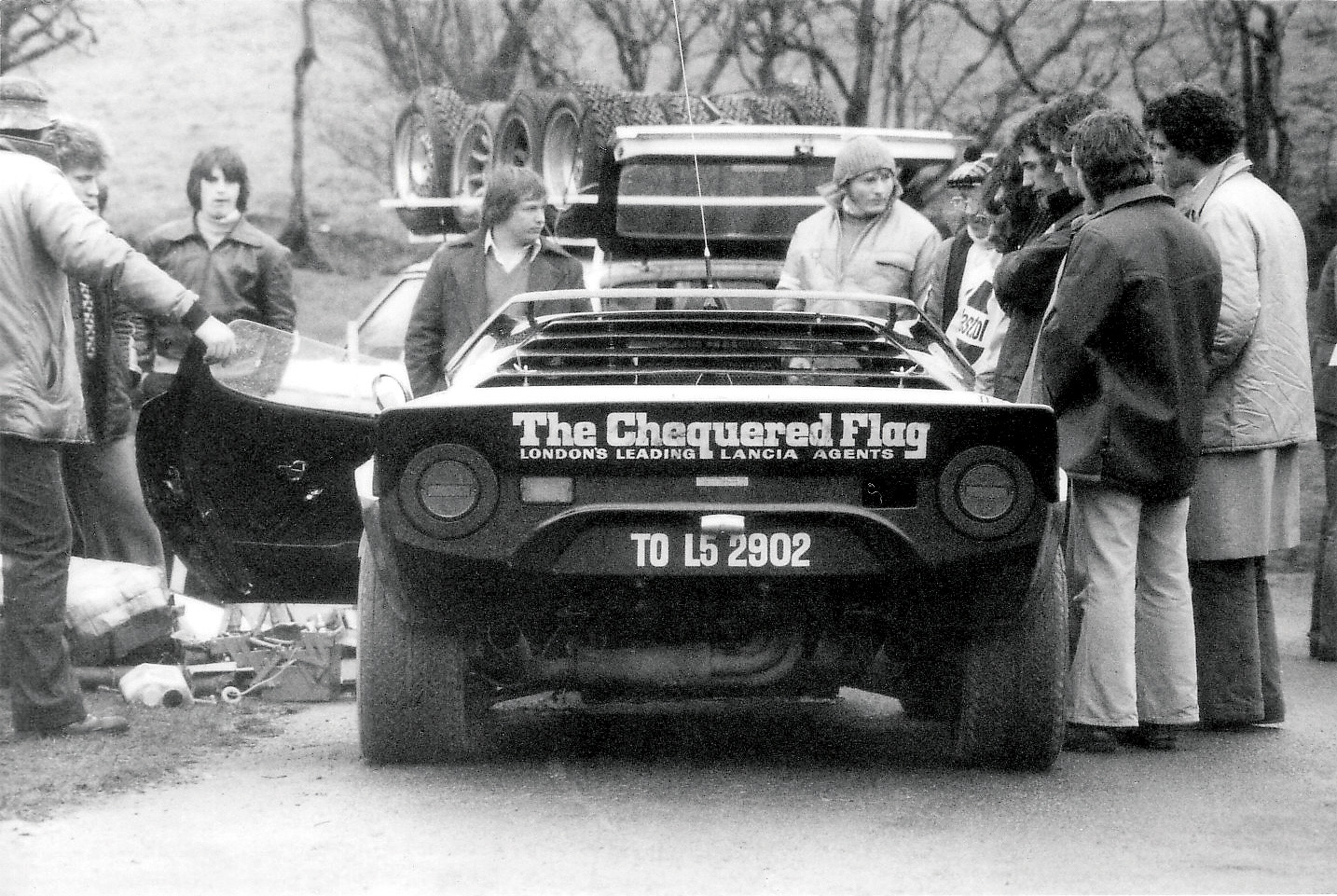 Rear view of Chequered Flag Stratos on Forest of the Dean Rally