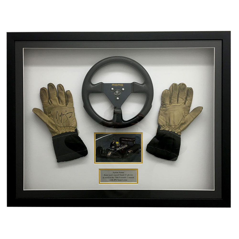 Product image for Ayrton Senna signed, race-used gloves